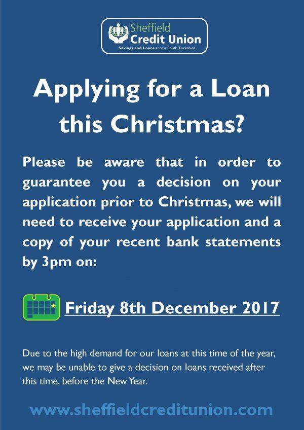 Loan application deadline for Christmas 2017