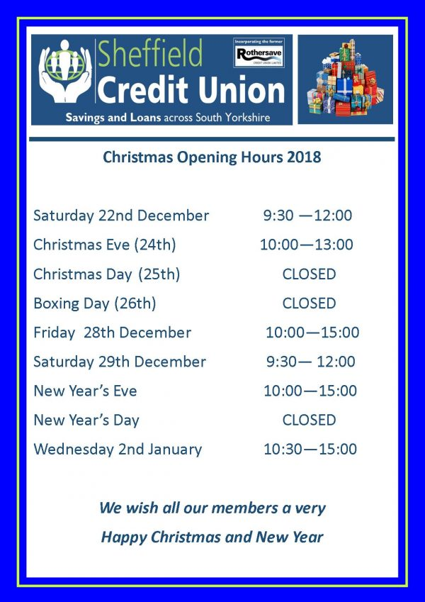 Christmas Information at Sheffield Credit Union